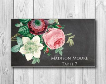 Printable Wedding Place Cards - Vintage Floral Wedding Place Cards - Rustic Wedding - Vintage Style - INSTANT DOWNLOAD - Microsoft Word