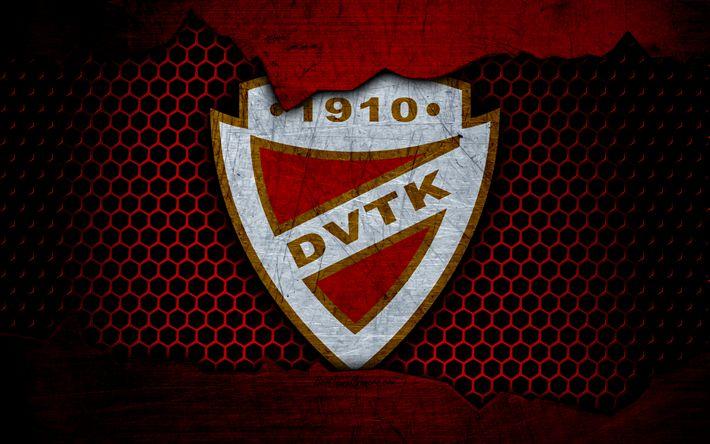 Download wallpapers DVTK, 4k, logo, NB I, Hungarian Liga, soccer, football club, Hungary, grunge, metal texture, DVTK FC