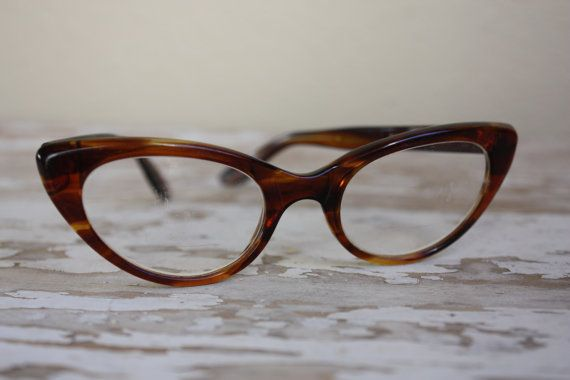 1950's Vintage Chocolate and Caramel Cat Eye Glasses Made in Italy by pursuingandie, $49.95.