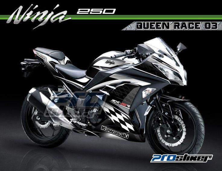 Striping ninja 250 injeksi warna putih gambar desain grafis racing queen race 03 prostiker
