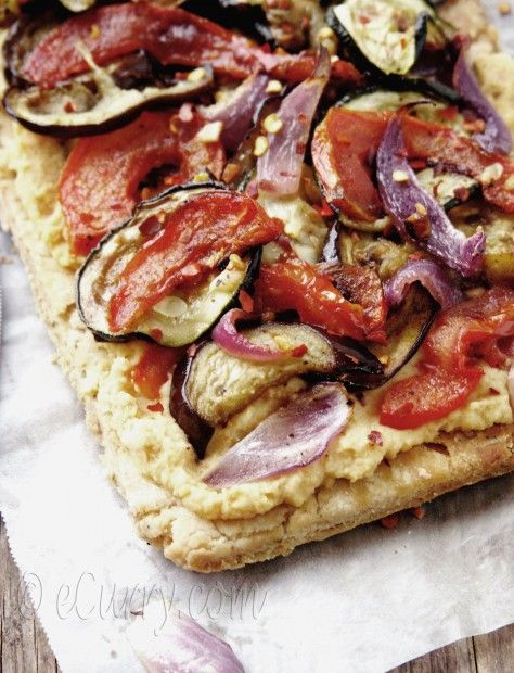 Grilled vegetable and hummus tart. I have discovered a new love for Mediterranean food!