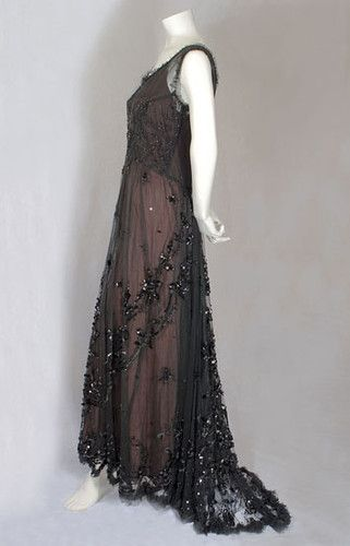 Edwardian Titanic Era Beaded Tulle Evening Dress Gown C