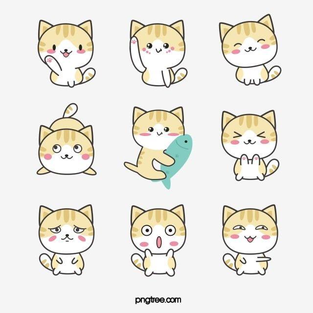 Cute Cat Set 1 Kawaii Cat Clipart Instant Download Png Etsy Cat Clipart Cartoon Drawings Clip Art