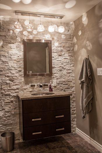 gray powder room, stone accent wall, modern dark wood vanity cabinet (Sherwin Williams, Sticks & Stones)