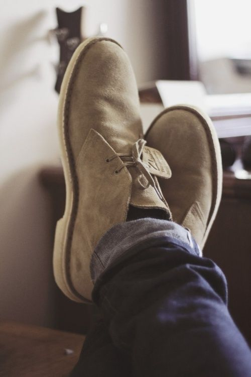 Lighter color for warm weather.  Clark's Desert Boots