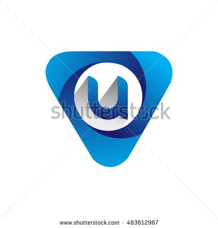 Logo letter U blue colored in the triangle shape, Vector design template…