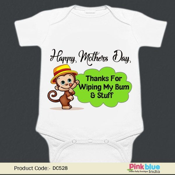 Happy 1st Mother/'s Day Embroidered Baby Vest Gift Personalised Mum First