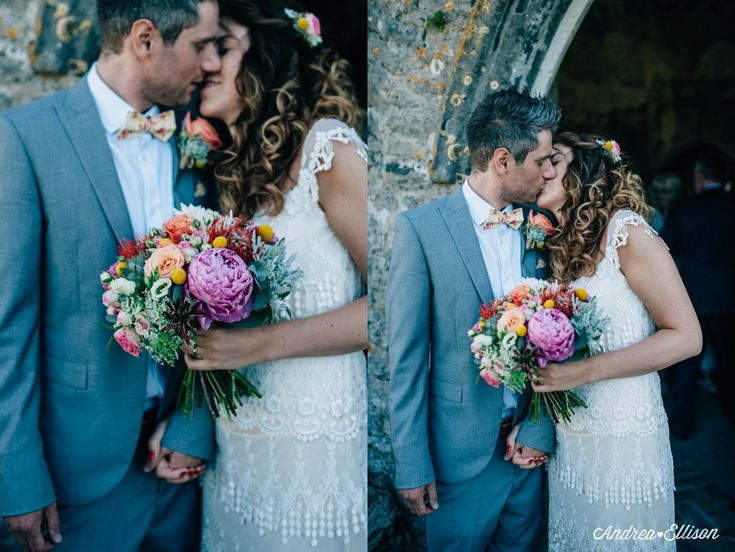 The Chilled Out Castle & Beach Wedding Manorbier Castle homemade wedding flowers in a Jenny Packham dress