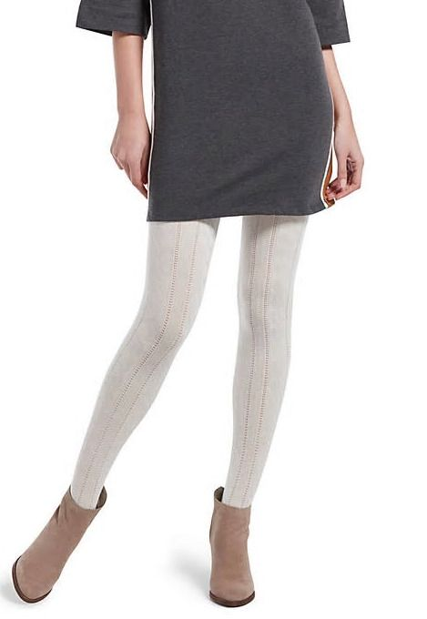 Hue Womens Cable Knit Sweater Tights Ivory Sm Hue Smooth Shop