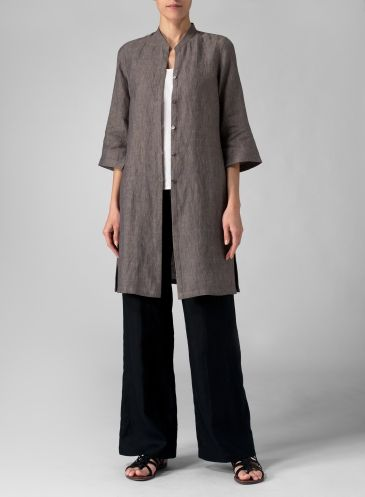 Linen Mandarin Collar Simple Long Blouse http://www.vividlinen.com/missy/product/t3372_635_linen-mandarin-collar-simple-long-blouse