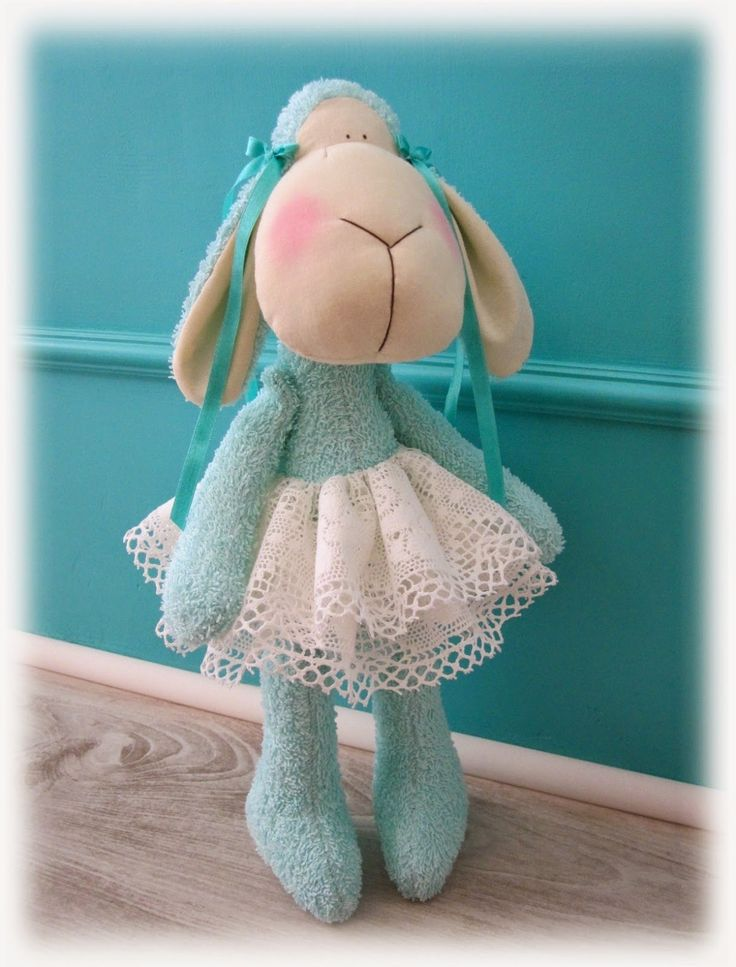 Tilda toys Tilda sheep turquoise acqua teal Easter handmade toy vintage lace owieczka owca 'created by BB'