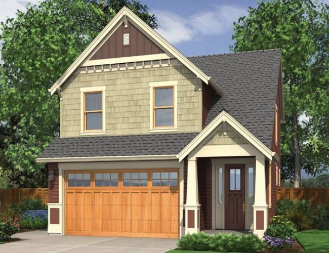 Narrow lot home plans with front garage for Front garage house plans