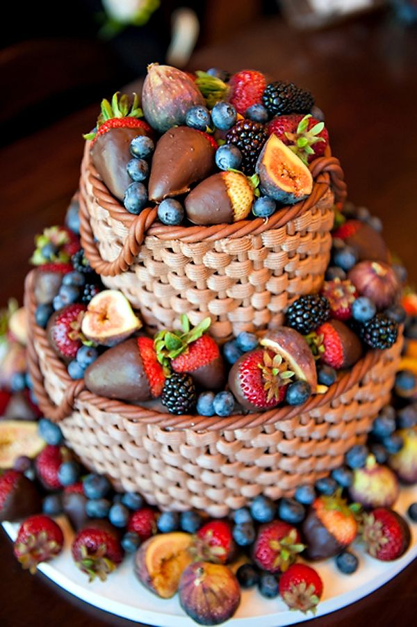 fresh fruit and chocolate weave wedding cake - with dark chocolate it could be a vegan cake.