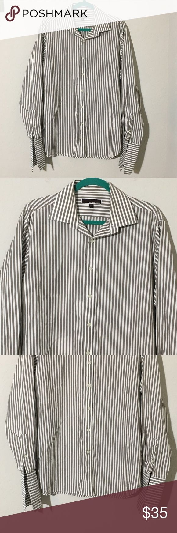"""Michael Kors Brown Striped French Cuff Dress Shirt Men's Michael Kors brown and white striped long sleeve french cuff dress shirt Sz 16.5"""" neck 34/35"""" sleeves. Excellent condition no flaws Michael Kors Shirts Dress Shirts"""