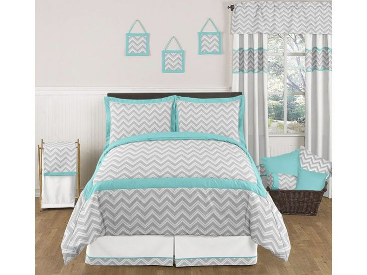 grey and turquoise bedding | Zig Zag Turquoise and Gray | Sweet Peaches Bedding