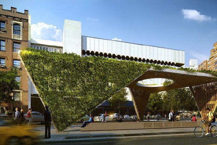 Studio a i Reimagines AIDS Memorial Park Design as a Fresh Green Triangular Canopy