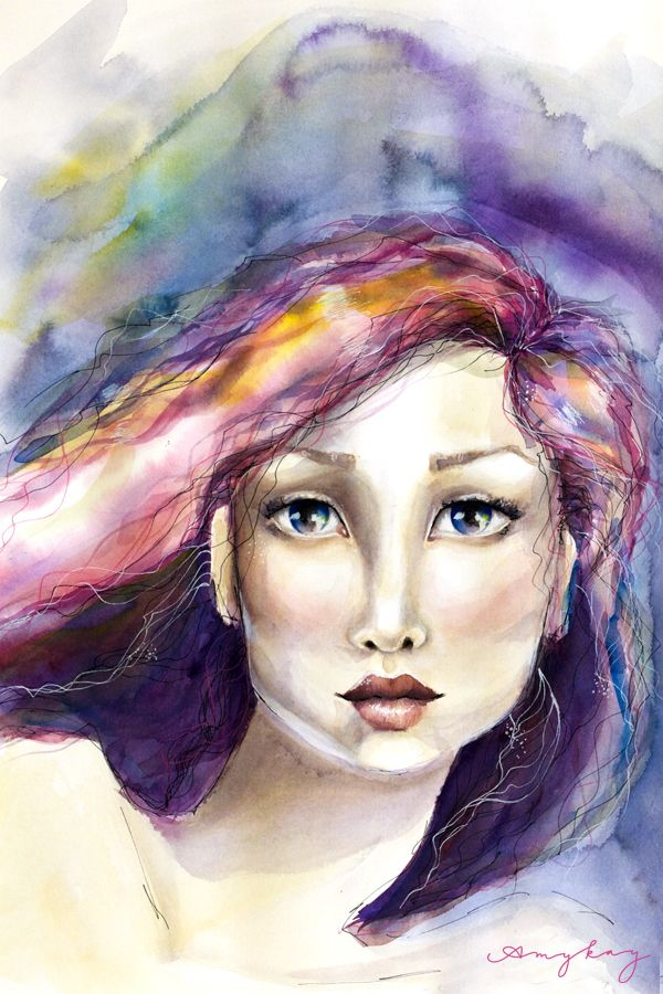 Wonder Watercolor And Ink Painting Of A Young Woman With Crystal
