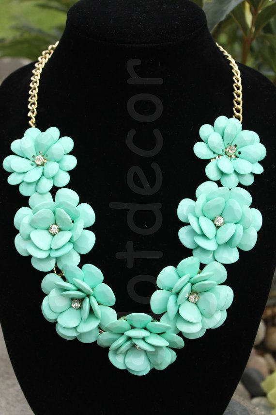 Turquoise Bubble necklace J. Crew Rose Flower Light by HotDecor, $19.99