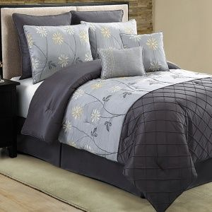 The Maxine Grey Black 8 Piece Comforter Set includes a comforter, 2...