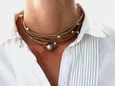 Leather Pearl Necklace Sterling Silver by JewelMeShop on Etsy, $65.00