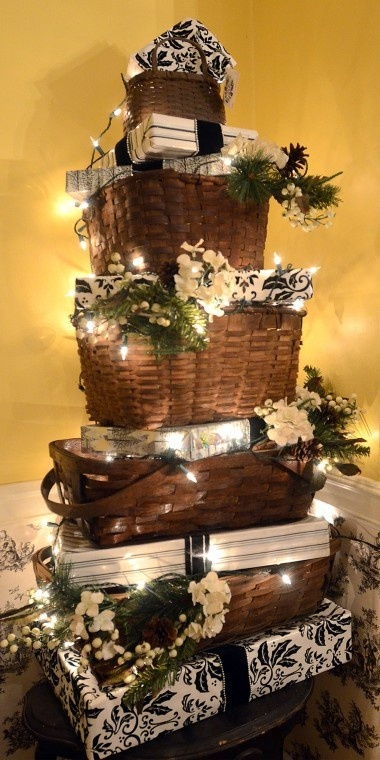 Stacked baskets decorated- simply gorgeous!-(Easy Seasonal DIY and great conversation piece)!