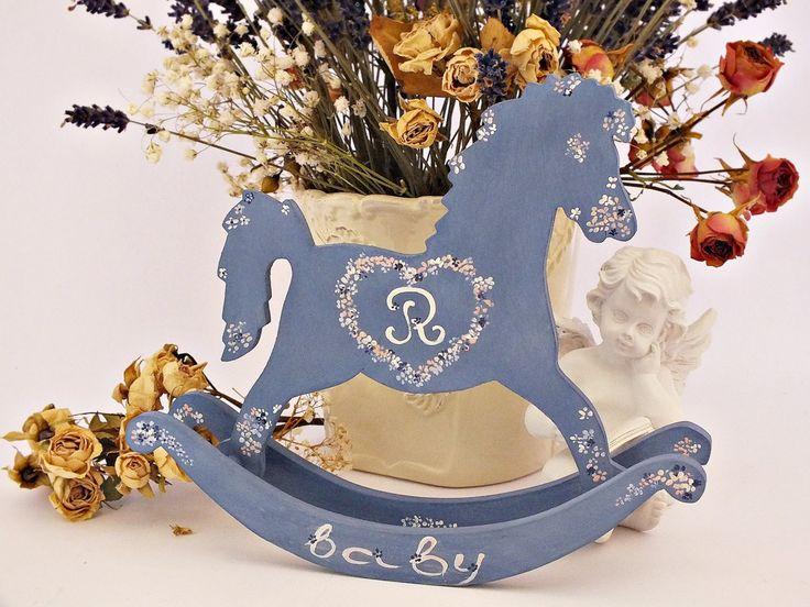 Personalized rocking horse toy Baby shower gift Rocking horse decor Personalized baby gifts Personalized baby boy nursery Monogram new baby (25.00 EUR) by VintageLullabyDesign