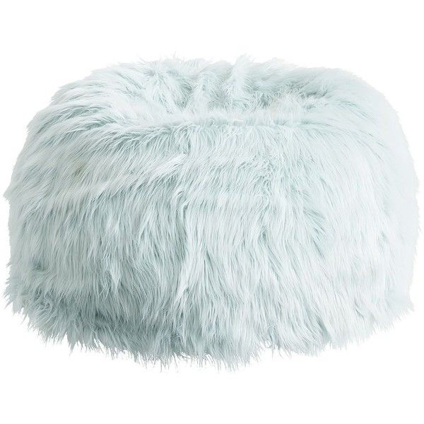 PB Teen Sky Blue Fur-rific Beanbag, Large Slipcover ($119) ❤ liked on Polyvore featuring home, furniture, chairs, accent chairs, round chair, fur chair, bean-bag chair, plush chair and sky blue chair