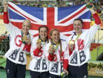 (L-R) Joanna Rowsell, Elinor Barker, Laura Trott and Kate Archibald