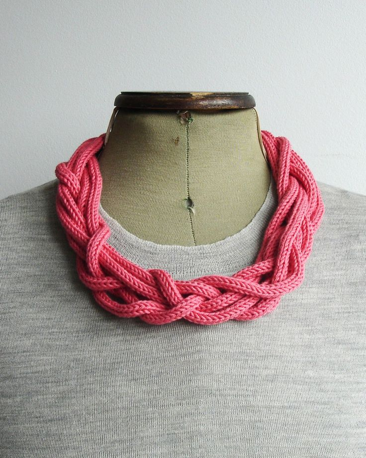 Six Cord Knitted Organic Necklace - as headband