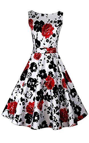 Trendy ACEVOG Damen Retro Vintage Party Cocktailkleider Floral Sommerkleid Abendkleider Audrey Hepburn 50er Jahre Rockabilly Kleid mit Blumenmuster Knielang - kleidamore