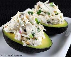 crab salad on avocado halves more chicken salad avocado salad yummy ...