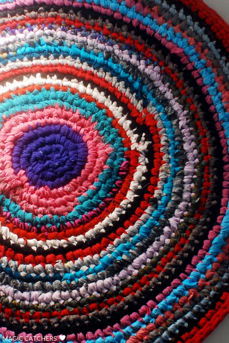 Rustic crochet rug hand made bohemian style.