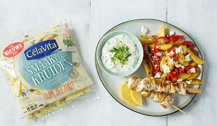 Snelle Griekse aardappelschotel met kip souvlaki - Leuke recepten