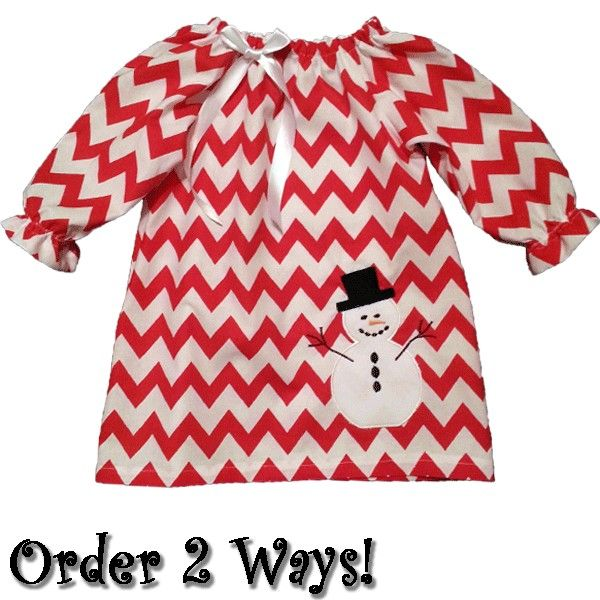This whimsical red chevron baby & toddler dress is a must have for this winter season! Features an adorable snowman applique motif and white ribbon bow for extra cuteness. http://luckyskunks.com