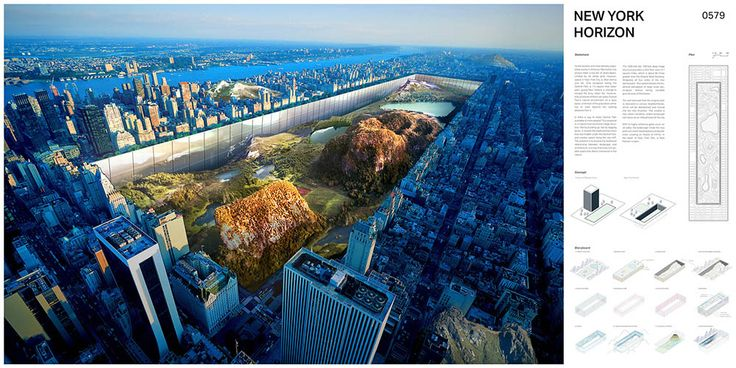 eVolo 2016 FIRST PLACE was awarded to Yitan Sun and Jianshi Wu from the United States for the project New York Horizon. The design proposes a continuous horizontal skyscraper around the full perimeter of a sunken Central Park. The project would create 7 square miles (80 times greater than the Empire State Building) of housing with unobstructed views and connection to the park.