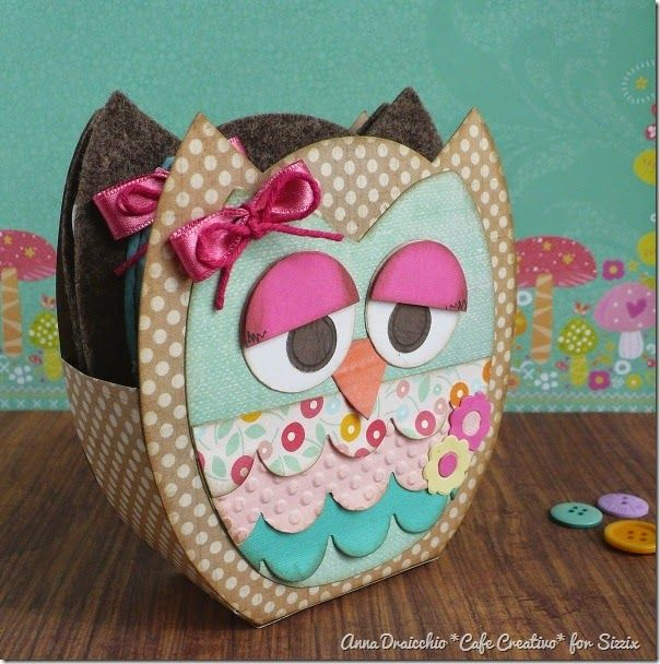 cafe creativo - big shot sizzix - owl - gufo set cucito (4)