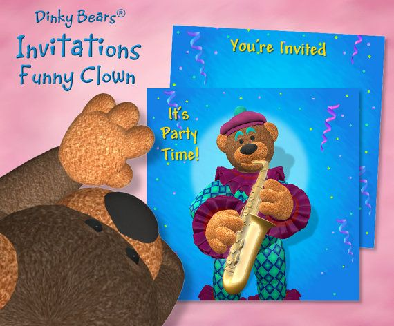 Dinky Bears - Clown Playing Saxophone Invitation - Digital Download by DinkyPrints