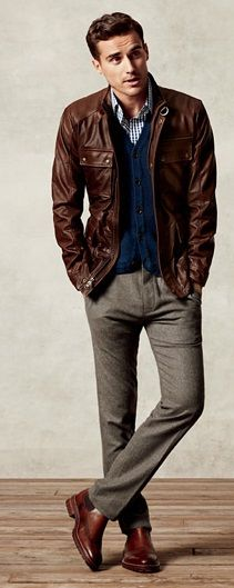 Layers. Brown Leather Jacket, Navy Cardigan