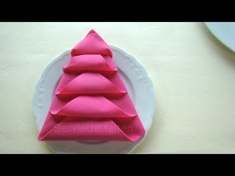 Fold napkin into Christmas Tree --- Weihnachtsdeko basteln - Servietten falten Weihnachten: Weihnachtsbaum