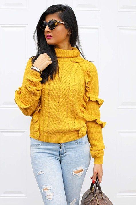 Ruffle Knitted Sweater & Distressed Jeans - Zunera & Serena http://zunera-serena.com/ruffle-knitted-sweater-distressed-jeans/