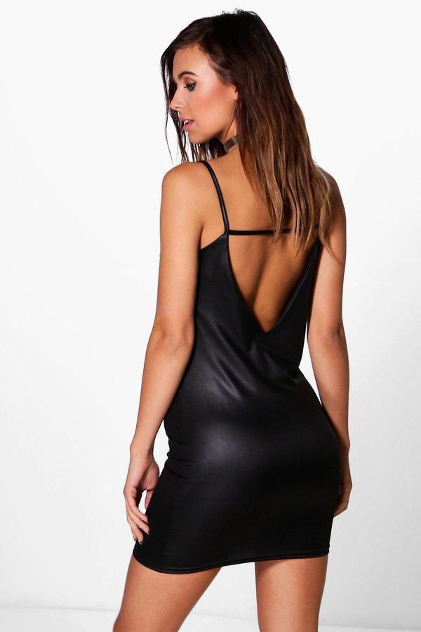 Petite Evelyn V Back Strappy PU Mini Dress