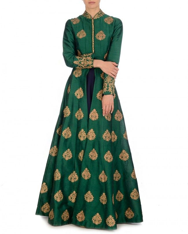 Golden Embroidered Forest Green Jacket with Navy Dress by SVA
