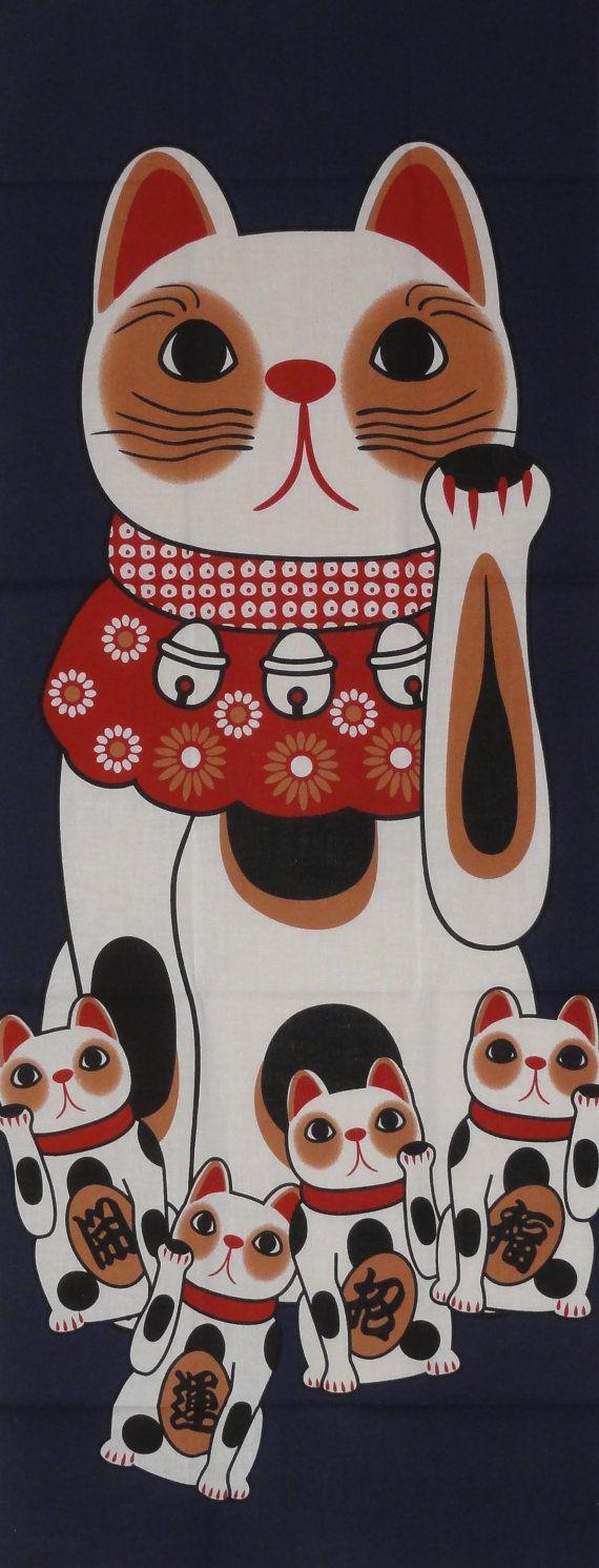 Maneki Neko on Navy Motif Tenugui Japanese Fabric w/Free Shipping