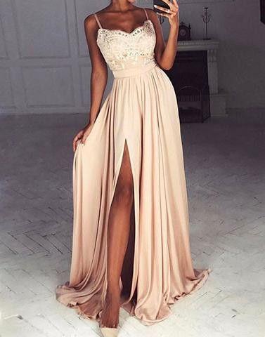 2017 chiffon lace long prom dresses, cheap evening dress,BD172710