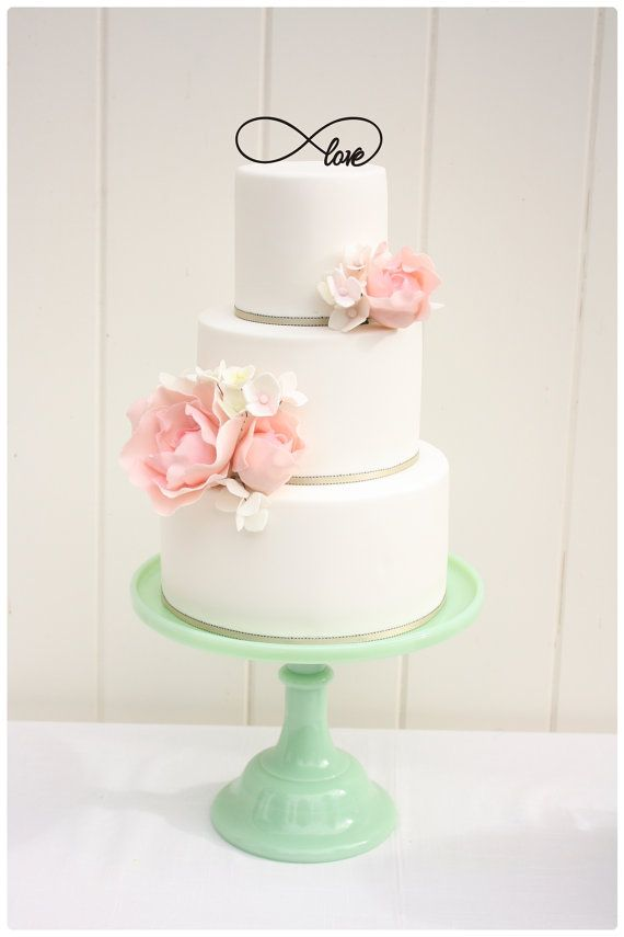 Custom Wedding Cake Topper   Infinity Symbol by ThePinkOwlDesigns, $20.00