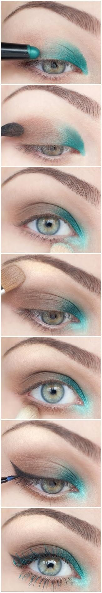 reverse smokey eye with a pop of color.   super cool but idk if i could ever actually pull it off...