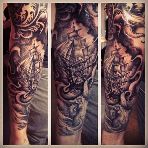 Awesome detail on this ship tattoo
