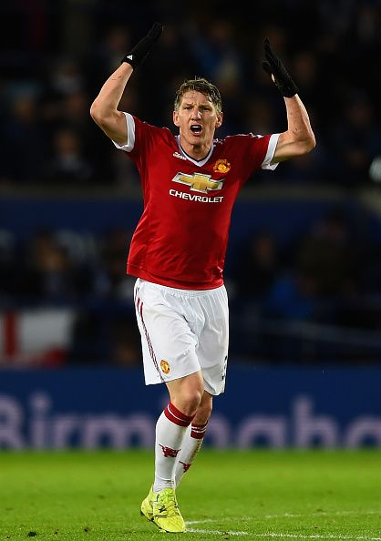 Bastian Schweinsteiger of Manchester United celebrates scoring his team's first goal during the Barclays Premier League match between Leicester City...