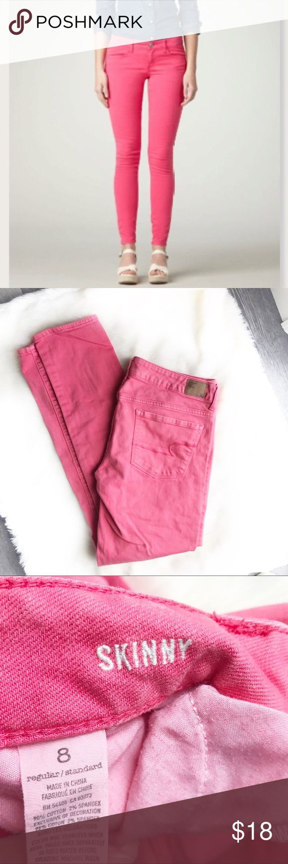🍾American Eagle Pink Skinny Jeans AE skinny jeans. Size 8 Regular. Pink. Mark/dried substance on left thigh. American Eagle Outfitters Jeans Skinny