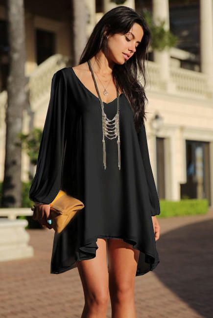 Black Loose Fitting Mini Chiffon Dress with Sleeves Slit